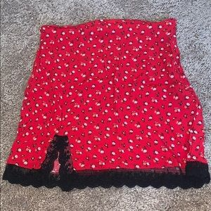 Red floral skirt with slit